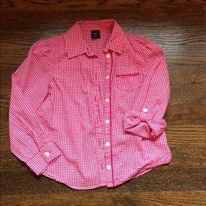 Girls pink gingham Gap shirt size S